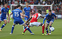 Oldham Athletic's Jack Byrne shields the ball from Fleetwood Town's Devante Cole<br /> <br /> Photographer Stephen White/CameraSport<br /> <br /> The EFL Sky Bet League One - Fleetwood Town v Oldham Athletic - Saturday 9th September 2017 - Highbury Stadium - Fleetwood<br /> <br /> World Copyright &copy; 2017 CameraSport. All rights reserved. 43 Linden Ave. Countesthorpe. Leicester. England. LE8 5PG - Tel: +44 (0) 116 277 4147 - admin@camerasport.com - www.camerasport.com