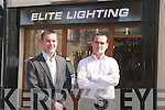 Kevin O'Connor and Ger Hussey outside their new premises Elite Lighting..