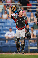 Altoona Curve catcher Jackson Williams (43) during a game against the Binghamton Rumble Ponies on May 17, 2017 at NYSEG Stadium in Binghamton, New York.  Altoona defeated Binghamton 8-6.  (Mike Janes/Four Seam Images)