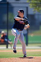 Atlanta Braves pitcher Bruce Zimmermann (73) during a Minor League Spring Training game against the Detroit Tigers on March 22, 2018 at the TigerTown Complex in Lakeland, Florida.  (Mike Janes/Four Seam Images)