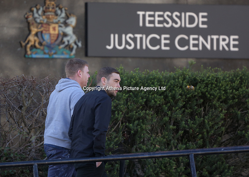 Pictured: Daniel Stewart Skelton (R) arrives at Teesside Justice Centre in Middlesbrough. Tuesday 21 March 2017<br />