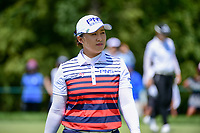 Amy Yang (KOR) after sinking her putt on 1 during Sunday's final round of the 72nd U.S. Women's Open Championship, at Trump National Golf Club, Bedminster, New Jersey. 7/16/2017.<br /> Picture: Golffile | Ken Murray<br /> <br /> <br /> All photo usage must carry mandatory copyright credit (&copy; Golffile | Ken Murray)