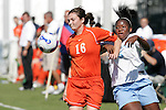 7 November 2007: Clemson's Elizabeth Jobe (16) plays the ball away from North Carolina's Jaime Gilbert (right). The University of North Carolina defeated Clemson University 3-0 at the Disney Wide World of Sports complex in Orlando, FL in an Atlantic Coast Conference tournament quarterfinal match.