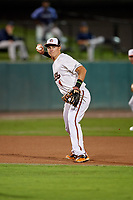 Bowie Baysox third baseman Ryan Mountcastle (4) throws to first base during the second game of a doubleheader against the Trenton Thunder on June 13, 2018 at Prince George's Stadium in Bowie, Maryland.  Bowie defeated Trenton 10-1.  (Mike Janes/Four Seam Images)