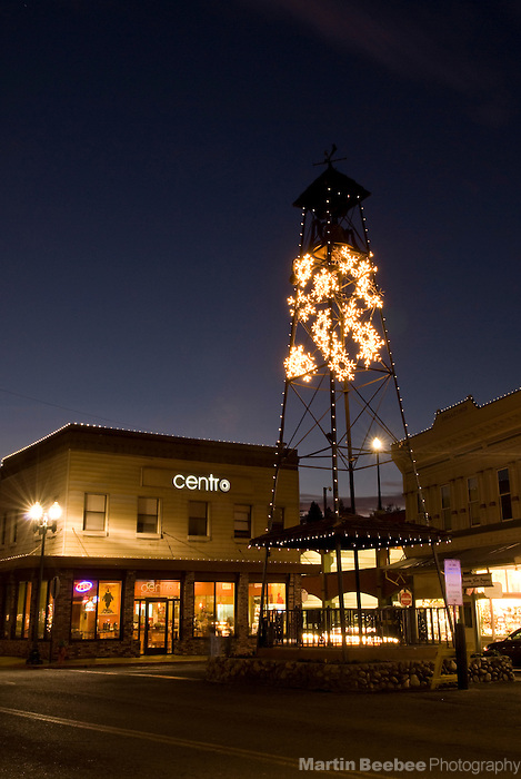 Christmas lights on the bell tower in historic downtown Placerville, California