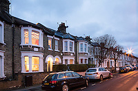 Exterior of a Victorian terraced house.