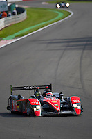 The Audi R10 TDI #14 LMP1, Narain Karthikeyan-Andy Meyrick-Ch. Zwolsman, Team Kolles, in the entrance of the double left corner, last hour of the race, Sunday, May 10, 2009, in Spa-Francorchamps, Belgium (Valentin Bianchi/pressphotointl.com)