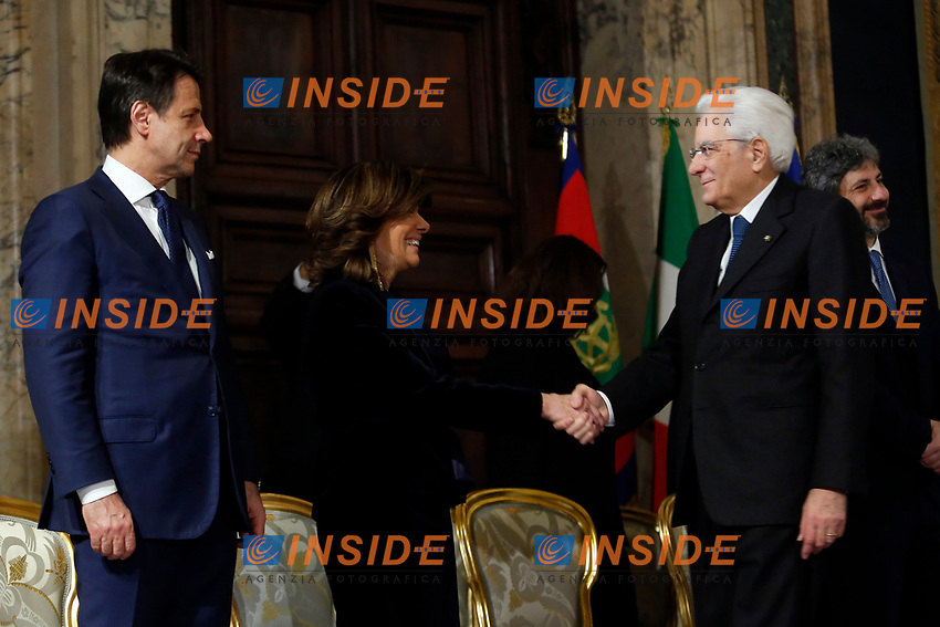 Italian premier Giuseppe Conte, President of Senate Maria Elisabetta Alberti Casellati and President of the Republic Sergio Mattarella <br /> Rome December 19th 2018. Quirinale. Traditional exchange of Christmas wishes between the President of the Republic and the institutions.<br /> Foto Samantha Zucchi Insidefoto