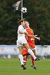 05 November 2008: North Carolina's Yael Averbuch (17) and Miami's Lauren Singer (16) challenge for a header. The University of North Carolina defeated the University of Miami 1-0 at Koka Booth Stadium at WakeMed Soccer Park in Cary, NC in a women's ACC tournament quarterfinal game.