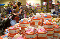 Quebec city, August 1, 2008 - Customers walk by toys on display at the Benjo toy store on St-Joseph street in Quebec city. Benjo is a 28,000-square-foot game and toy store filled with dolls, teddy bears, crafts, candy, model trains and cars, and more.