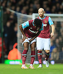 West Ham's Alex Song injures his leg<br /> <br /> Barclays Premier League - West Ham United v Stoke City - Upton Park - England -12th December 2015 - Picture David Klein/Sportimage