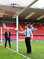 Referee Ben Toner tests the goal-line technology prior to the game<br /> <br /> Photographer Chris Vaughan/CameraSport<br /> <br /> The EFL Sky Bet League Two Play Off First Leg - Lincoln City v Exeter City - Saturday 12th May 2018 - Sincil Bank - Lincoln<br /> <br /> World Copyright &copy; 2018 CameraSport. All rights reserved. 43 Linden Ave. Countesthorpe. Leicester. England. LE8 5PG - Tel: +44 (0) 116 277 4147 - admin@camerasport.com - www.camerasport.com