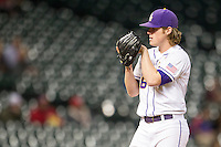 LSU Tigers pitcher Jared Poche (16) looks to his catcher for the sign during the NCAA baseball game against the Houston Cougars on March 6, 2015 at Minute Maid Park in Houston, Texas. LSU defeated Houston 4-2. (Andrew Woolley/Four Seam Images)