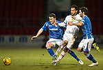 St Johnstone v Inverness Caley Thistle&hellip;09.03.16  SPFL McDiarmid Park, Perth<br />Jordan Roberts kis crowded out by Tam Scobbie and Simon Lappin<br />Picture by Graeme Hart.<br />Copyright Perthshire Picture Agency<br />Tel: 01738 623350  Mobile: 07990 594431