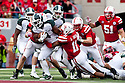 29 October 2011: Edwin Baker #4 of the Michigan State Spartans rushes up the middle for nine yards against the Nebraska Cornhuskers at the start of the fourth quarter at Memorial Stadium in Lincoln, Nebraska.  Nebraska defeated Michigan State 24 to 3.