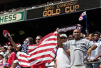 USA fans cheer for their team. The United States defeated Panama 3-1 in a shoot out after a scoreless game to win the CONCACAF Gold Cup at Giant's Stadium, East Rutherford, NJ, on July 24, 2005.