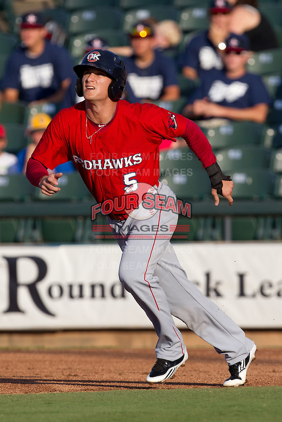 Oklahoma City RedHawks outfielder Brian Barnes #5 on the basepaths during the Pacific Coast League baseball game against the Round Rock Express on June 15, 2012 at the Dell Diamond in Round Rock, Texas. The Express shutout the RedHawks 2-1. (Andrew Woolley/Four Seam Images).