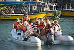 Tourists are transported with panga's (little boats) to the different islands of the Galapagos archipelago