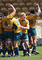 Australian players celebrate victory during the International rugby match between New Zealand Secondary Schools and Suncorp Australia Secondary Schools at Yarrows Stadium, New Plymouth, New Zealand on Friday, 10 October 2008. Photo: Dave Lintott / lintottphoto.co.nz