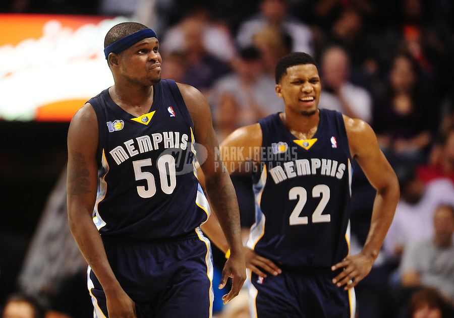 Dec. 8, 2010; Phoenix, AZ, USA; Memphis Grizzlies forward (50) Zach Randolph and forward (22) Rudy Gay against the Phoenix Suns at the US Airways Center. Memphis defeated Phoenix 104-98 in overtime. Mandatory Credit: Mark J. Rebilas-