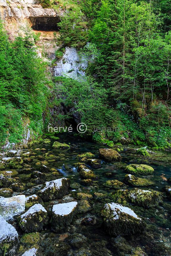 France, Doubs (25), Mouthe, la source du Doubs // France, Doubs, Mouthe, the source of the Doubs