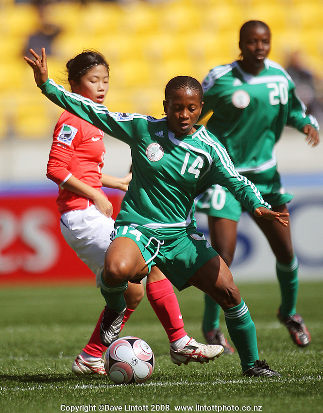 Nigeria's Soo Adekwagh during the FIFA Women's Under-17 World Cup pool match between Korea and Nigeria at Westpac Stadium, Wellington, New Zealand on Thursday, 30 October 2008. Photo: Dave Lintott / lintottphoto.co.nz
