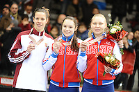 SHORT TRACK: TORINO: 15-01-2017, Palavela, ISU European Short Track Speed Skating Championships, Podium 1000m Ladies, Andrea Keszler (HUN), Sofia Prosvirnova (RUS), Ekaterina Konstantinova (RUS), ©photo Martin de Jong