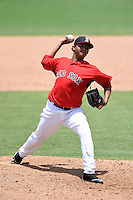 GCL Red Sox pitcher Keivin Heras (59) delivers a pitch during a game against the GCL Rays on June 25, 2014 at JetBlue Park at Fenway South in Fort Myers, Florida.  GCL Red Sox defeated the GCL Rays 7-0.  (Mike Janes/Four Seam Images)