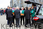 Weshie Fogarty coffin is covered in the green and white flag of Killarney Legion by James O'Donoghue in St Marys Cathedral on Wednesday