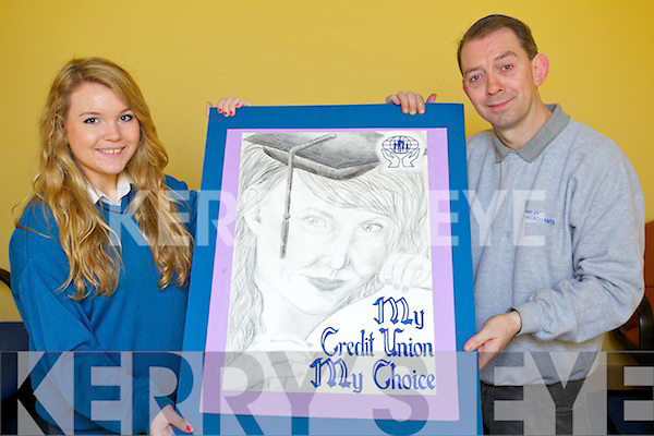 Sarah Prendergast (Caherslee), a National winner of the Irish League of Credit Unions Art Competition, pictured with George Lowe (Youth Officer Tralee Credit Union) and some of her work that has previously won at National level..