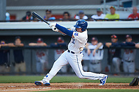 Vinnie Pasquantino (33) of the Burlington Royals is hit by a foul ball during the game against the Danville Braves at Burlington Athletic Stadium on July 13, 2019 in Burlington, North Carolina. The Royals defeated the Braves 5-2. (Brian Westerholt/Four Seam Images)