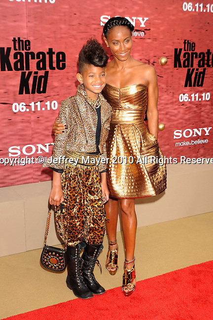 "WESTWOOD, CA. - June 07: Willow Smith and Jada Pinkett Smith arrive at ""The Karate Kid"" Los Angeles Premiere at Mann Village Theatre on June 7, 2010 in Westwood, California."