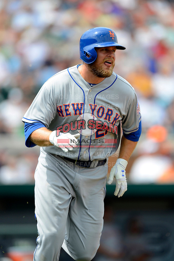 New York Mets outfielder Lucas Duda #21 during a Spring Training game against the Detroit Tigers at Joker Marchant Stadium on March 11, 2013 in Lakeland, Florida.  New York defeated Detroit 11-0.  (Mike Janes/Four Seam Images)