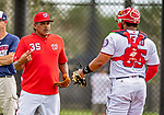 22 February 2019: Washington Nationals bullpen coach Henry Blanco helps organize drills at home plate during a Spring Training workout at the Ballpark of the Palm Beaches in West Palm Beach, Florida. Mandatory Credit: Ed Wolfstein Photo *** RAW (NEF) Image File Available ***