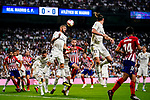 Saul Niguez of Atletico de Madrid (R) in action against Karim Benzema of Real Madrid (L) during their La Liga  2018-19 match between Real Madrid CF and Atletico de Madrid at Santiago Bernabeu on September 29 2018 in Madrid, Spain. Photo by Diego Souto / Power Sport Images