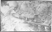 D&amp;RGW 2-8-8-2 #3617 climbing toward the Moffat Tunnel at Pine Cliff.  The postcard states that #3612 is the pusher on this train.<br /> D&amp;RGW  Pine Cliff, CO  Taken by Perry, Otto C. - 5/24/1942