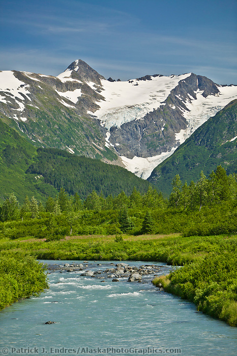 Placer creek flows out of the Chugach mountains, enroute to Whittier, Alaska