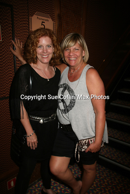 Guiding Light's Liz Keifer and Kim Zimmer - Welcome Aboard Party- Spend Time with friends and the actors on the dance floor, grooving to disco, hits of today and classic tunes on Day 1 Saturday evening July 31, 2010 - So Long Springfield at Sea - A Final Farewell To Guiding Light sets sail from NYC to St. John, New Brunwsick and Halifax, Nova Scotia from July 31 to August 5, 2010  aboard Carnival's Glory (Photos by Sue Coflin/Max Photos)