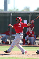 Luis Jimenez #13 of the Los Angeles Angels bats during a Minor League Spring Training Game against the Oakland Athletics at the Los Angeles Angels Spring Training Complex on March 17, 2014 in Tempe, Arizona. (Larry Goren/Four Seam Images)
