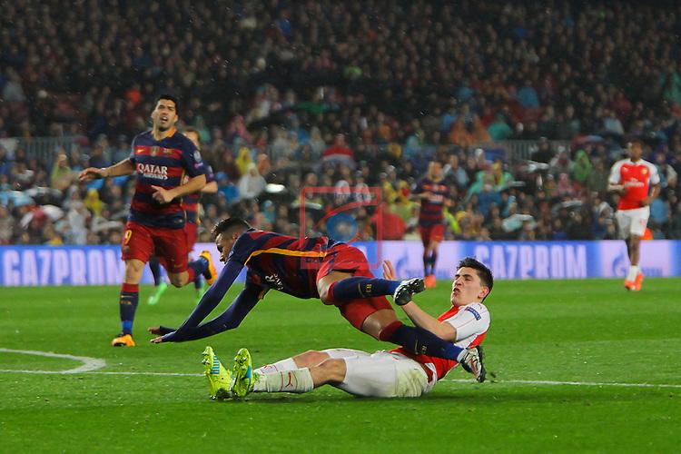 UEFA Champions League 2015-2016.<br /> Round of 16 2nd leg.<br /> FC Barcelona vs Arsenal FC: 3-1.<br /> Hector Bellerin vs Neymar.