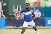 June 13th 2017, Nottingham, England; ATP Aegon Nottingham Open Tennis Tournament day 4;  Backhand from Darian King of Barbados in his match against Bjorn Fratangelo of USA