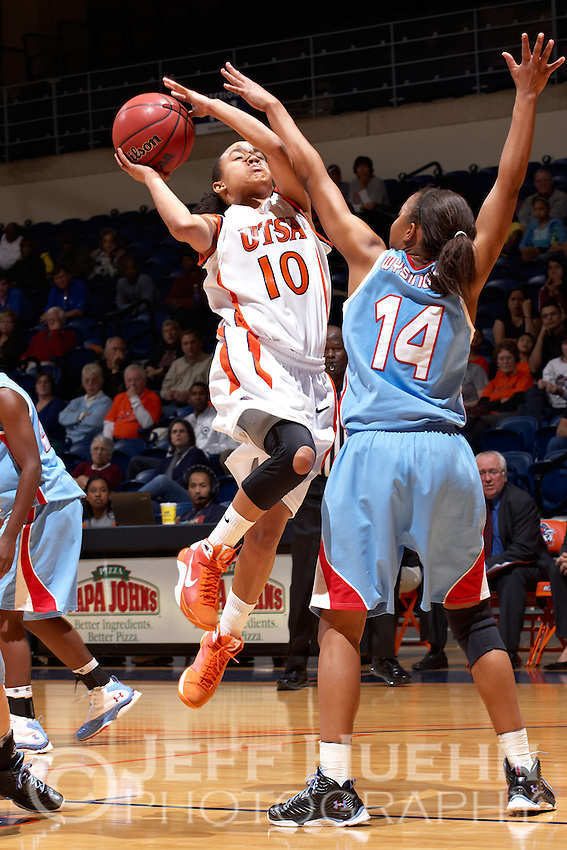 SAN ANTONIO , TX - DECEMBER 30, 2009: The Louisiana Tech University Lady Techsters vs. The University of Texas At San Antonio Roadrunners Women's Basketball at the UTSA Convocation Center. (Photo by Jeff Huehn)