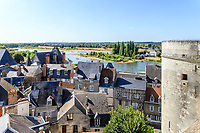 France, Indre-et-Loire (37), Amboise, château d'Amboise, vue depuis la terrasse sur la ville et la Loire