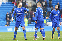 Sean Morrison of Cardiff City high fives Anthony Pilkington after the final whistle of the Sky Bet Championship match between Cardiff City and Sunderland at the Cardiff City Stadium, Wales, UK. Saturday 13 January 2018