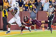 Landover, MD - SEPT 3, 2017: West Virginia Mountaineers wide receiver Gary Jennings (12) scores a touchdown over Virginia Tech Hokies defensive back Mook Reynolds (6) during game between West Virginia and Virginia Tech at FedEx Field in Landover, MD. (Photo by Phil Peters/Media Images International)