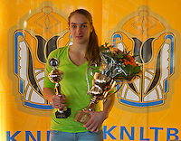 Rotterdam, The Netherlands, 07.03.2014. NOJK ,National Indoor Juniors Championships of 2014, 12and 16 years, Winner girls 16 years Isolde de Jong (NED)<br /> Photo:Tennisimages/Henk Koster