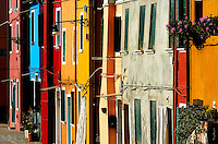 The colorful facades of homes in Burano, Italy.