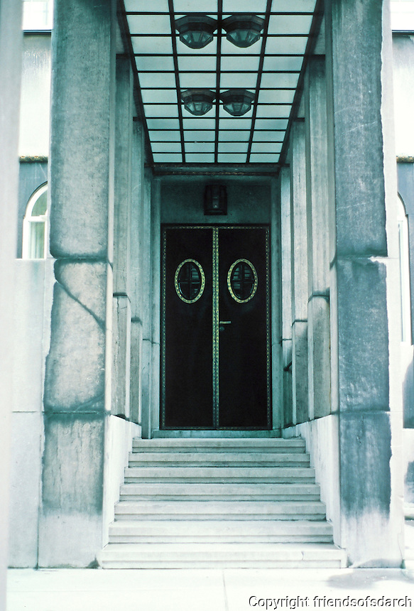 Josef Hoffman: Palais Stoclet, Brussels. Entrance detail. Photo '87.