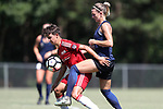 CARY, NC - JUNE 10: NC Courage trialist Stephanie Ochs (right). The North Carolina Courage held a scrimmage against the CASL Red South U16 Boys team on June 10, 2017, at WakeMed Soccer Park Field 7 in Cary, NC.