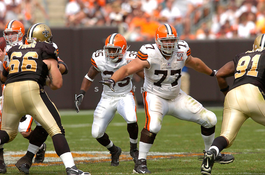 KEVIN SCHAFFER, of the Cleveland Browns, in action against the New Orleans Saints on September 10, 2006 in Cleveland...Chris Bernacchi / SportPics..Saints win 19-14